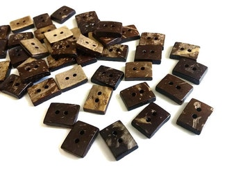 10 Tiny Rectangle Coconut Buttons 1/2 inch (BC506)