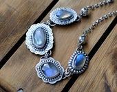 xX RESERVED Xx Sterling Silver Labradorite Necklace, Oxidised Sterling Silver Gemstone Necklace, Labradorite Boho Statement Necklace