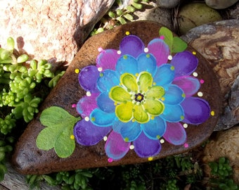 Hand Painted Idaho River Rock-Color Burst Flower-Lavender-Yellow-Blue-Green-Paper Weight-Shelf Sitter-Acrylic Original-One of a Kind, Garden