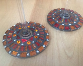 Hand made mosaic wine glass set of two.  Shades of Red and Orange.