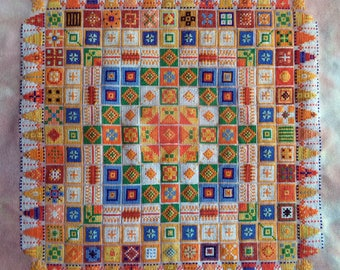 Jane's Joy Sun, Cross Stitched Quilt Pattern, Carolyn Manning Designs, PDF Download