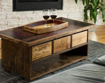 Wine Barrel Coffee Table with Crate Drawers