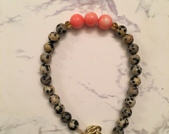 Clasped Safari, Chain wired bracelet for women, Jasper and Coral gemstones