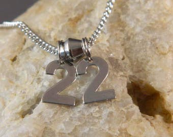 Small 2 Number Custom Stainless Steel Necklace