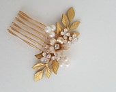 Gold Wedding Hair comb, Rhinestone Freshwater Pearl Hair Comb, Bridal Hair Accessory