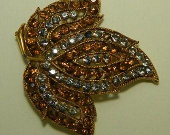 Stunning Large Amber Topaz and Smokey Rhinestone Leaf Brooch Pin