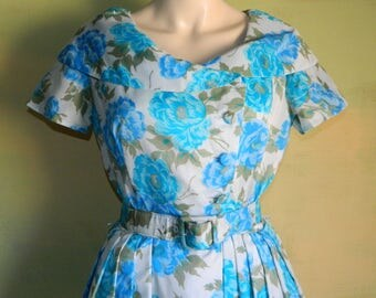 S 50s 60s Blue Floral Dress Shawl Collar Pleated Shirt Waist Bias Bodice Mad Men Betty Draper Spring Jannell California Dress vfg Blue Rose
