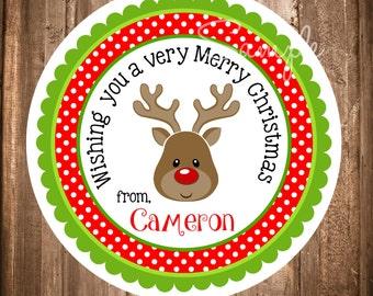 Reindeer Christmas Gift Tags, PRINTABLE Holiday Labels, Reindeer Hang Tags, Printable Christmas Stickers, Girl Reindeer - You print