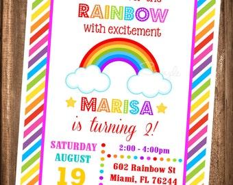Rainbow Invitation, PRINTABLE Rainbow Invites, Over The Rainbow Birthday Party Invitations, Digital Rainbow Invitations