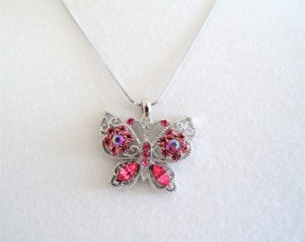 Sparkling Fuchsia Crystals Butterfly Pendant Necklace