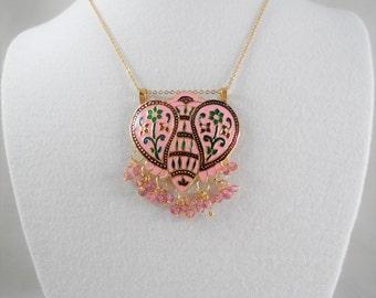 Gorgeous Gold Tone Cloisonne Enamel Necklace Earrings Set