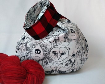 japanese knot bag - knitting crochet project bag - sock knitting bag - forest friends animals black red plaid - free knitting pattern