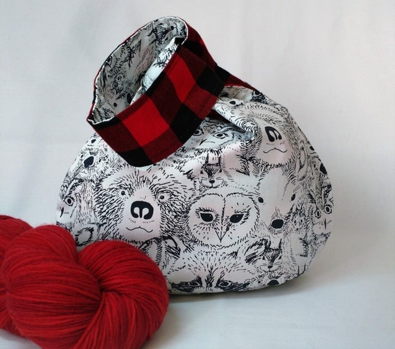 Crochet Japanese Knot Bag Pattern : Items similar to Sock Knitting Project Bag - Japanese Knot ...