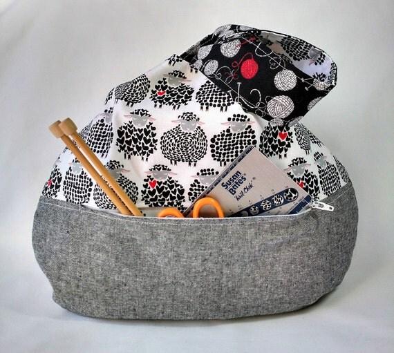 Zippered Knitting Bag : Knitting crochet project bag zippered pocket black sheep