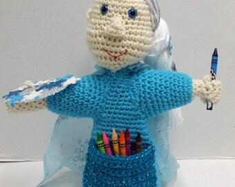 Crayon Doll/Princess Doll/Crayon Holder/Snowflake Princess/Crocheted/Girl Gift/Winter Theme/Artist/Party Decoration/Party Favors/Amigurumi