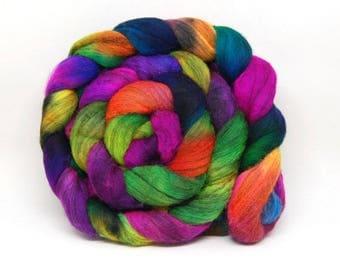 Handpainted Merino Wool Roving - Aint It Fun! - 4 oz Pink Purple Green