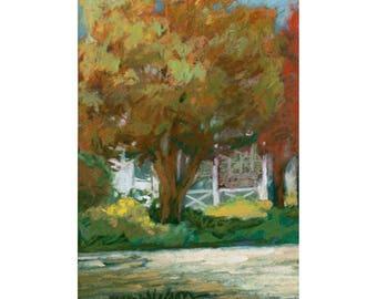 Spring Tree, Original Pastel Painting, Impressionist art, Small Painting, Street Scene, Soft Green Colors, Pastel Artwork, 5 x 8 w/9 x12 Mat
