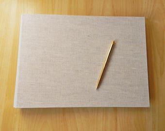 Linen Wedding Album, Guestbook, Natural Linen - Custom Made to Order