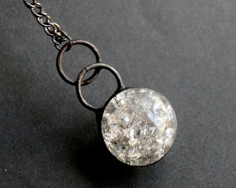 OOAK Clear Crackle Glass Marble Orb - Stained Glass Jewelry Necklace