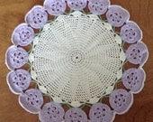 Vintage Lace Crochet Pansy Doily, Pale Purple, Lavender Doily, Granny Chic, Lacy Crochet