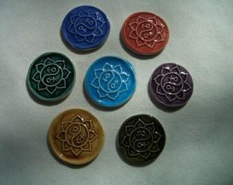 SKY - YIN-YANG Coins - 7 pc Lotus, Yin-Yang Stamped Tiles - Ceramic Mosaic Tiles