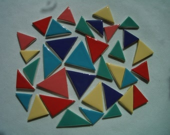 35RT - COLORFUL TRIAGLES -  Ceramic Mosaic Tiles Set