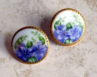 Vintage Victorian-Style Hand-Painted Porcelain Floral Earrings - China Painting of Purple Flowers - Gold Gilding - Converted to Pierced