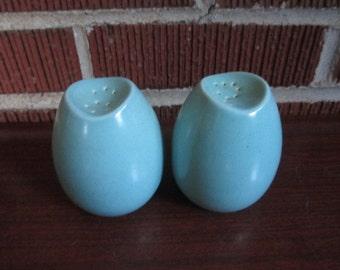 Vintage Mid Century Modern Pair of Aqua Blue Pottery Salt and Pepper Shakers Set