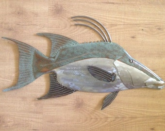 Hogfish Metal Wall  sculpture 25in long Tropical Beach Coastal  Art Fish