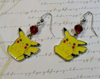 Pikachu Earrings-metal charms with red glass beads, silver, 2 inches or 5 cm