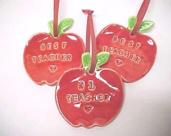 Teacher Ornament - Red Apple Shape - 'Best Teacher' - ' #1 Teacher' - Price for One Ornament - Friend Ornament - Grandchild Gift
