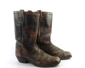Campus Leather Boots Vintage 1970s Wrangler Distressed brown Cowboy men's size 10 D