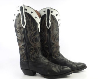 Cowboy Boots Vintage 1980s Stacked Heel Riding Larry Mahan Women's size 7 M
