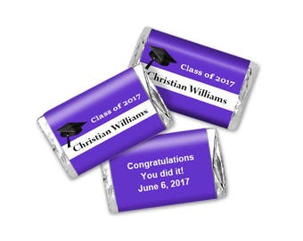 Purple Graduation Mini Candy Bar Wrappers - Class of 2017 - Printable Editable PDF File - Instant Download