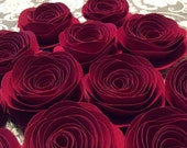 Beautiful Red Spiral Paper Roses, Rolled Paper Roses, Love Paper Flowers - Bridal Shower, Baby Shower, Party Table decoration, DIY