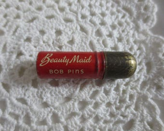 Vintage Beauty Maid Bob Pin Tin Storage Bobby Pins MCM Retro Collectible