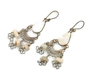 Gypsy Earrings, Peruvian Earrings, White Stone, Silver, Vintage Earrings, Ethnic Jewelry, Boho, Long Dangles, Big Earrings, Statement