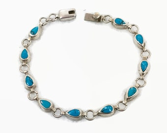 Turquoise Bracelet, Sterling Silver, Vintage Bracelet, 925 Bracelet, Links Linked, 925, Bohemian, Southwestern, Petite Small