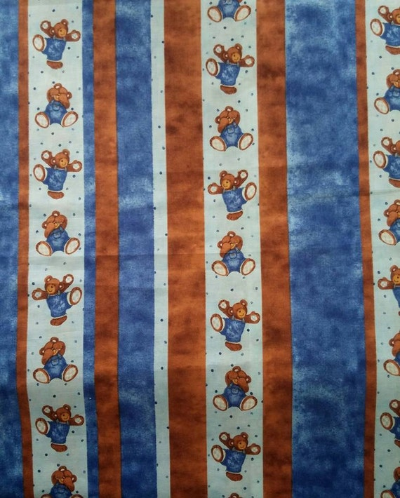 Billy bear stripe cotton fabric from steel creek studio for Children s material sewing