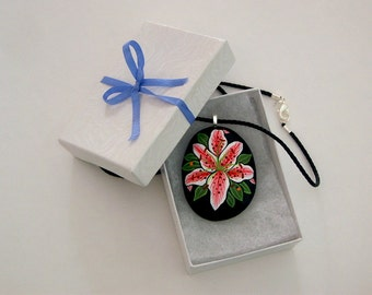 Holiday gift idea under 30 stone pendant necklace painted rocks autumn finds ooak pebble art pink daylily best friend gifts handmade jewelry