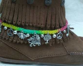 Rasta Lion bell charm hemp boot accessory or anklet