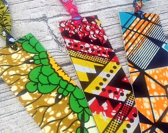 African wax bookmark, Fabric book marks. African book mark,Wax print book marks, Handmade pack of three bookmarks