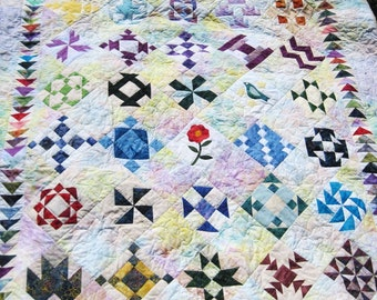 Lap quilt  cozy  throw sofa  quilt Quilted wall art  blanket pastel parchwork Batik Sampler large wall hanging Quiltsy handmade