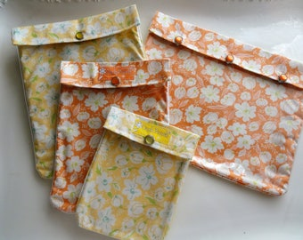 Ouch Pouch Set 4 Sizes Yellow & Orange Floral Clear Pocket Organizer Summer Travel Totes Cosmetics Cases First Aid Kits Diaper Bag Inserts