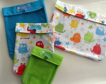 Monsters Ouch Pouch Set 4 Sizes Clear Front Diaper Bag Organizers Baby Supplies Toddler Totes First Aid Wipes Case Vacation Kids Medications