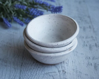 Prep Bowls - Set of Three Matte White Speckled Stoneware Bowls, Small White Kitchen Bowls Handmade Pottery Dipping Bowls