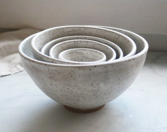 Set of Five White Speckled Matte Glaze Ceramic Nesting Bowls Rustic Handmade Pottery Ready to Ship Made in USA