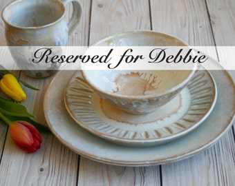 RESERVED for Debbie - Two Rustic White Place Settings -  Four Piece Stoneware Dinnerware Handcrafted Pottery Ready to Ship Made in USA