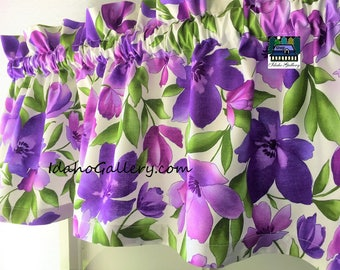 Catalina Ultra Violet Watercolor Floral Summer Valance Curtain Window Treatment by Idaho Gallery