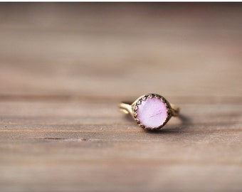 Pink peony dainty ring - Blush bridesmaid ring - Delicate ring - Flower pink ring - Bridesmaid pink gift - Bloom by BeautySpot (R057)
